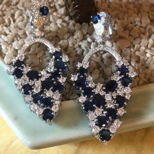 Vintage 925 Swiss blue &clear topaz earring